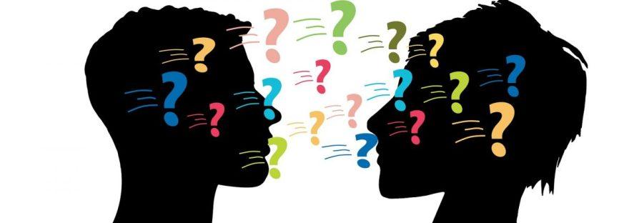 illustration of two heads with question marks moving between them