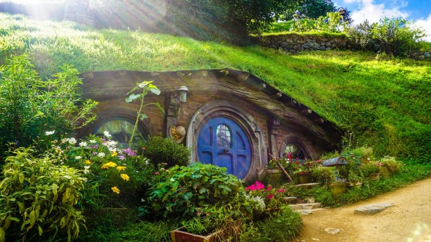 Hobbit house tucked in the side of a hill