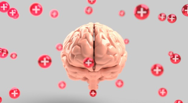 brain surrounded by plus signs