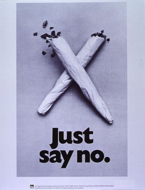 Just Say No poster with two marijuana joints