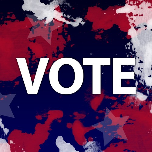 the word vote displayed across a blue and red background