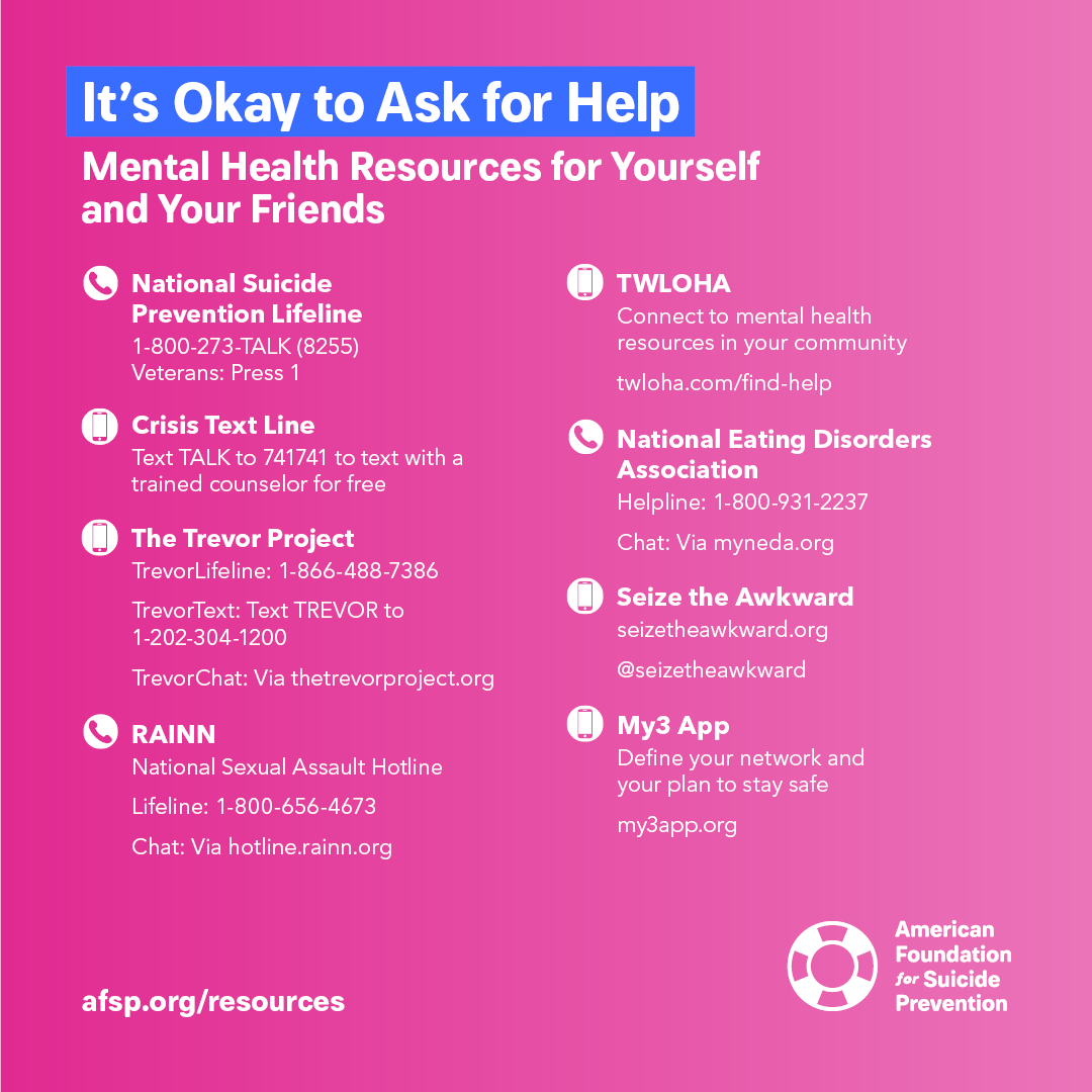 AFSP - It's ok to ask for help for