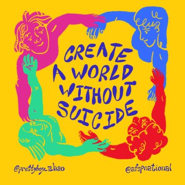AFSP - create a world without suicide - cartoon of people joining arms