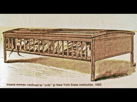 drawing of an utica crib, a bed covered with railings