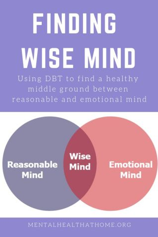 Mental Health @ Home: Finding Wise Mind - diagram of overlap between reasonable and emotional mind