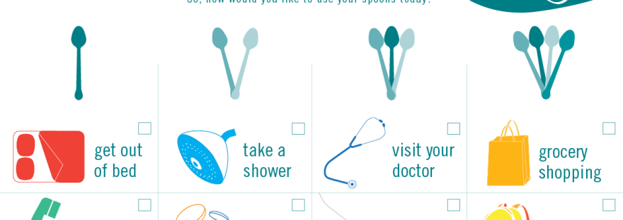 illustration from Molly's Fund of spoon theory and number of spoons needed for daily tasks in chronic illness