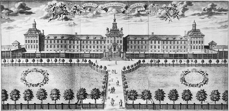 engraving of Bedlam asylum