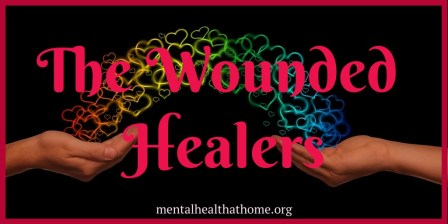The Wounded Healers: image of hearts passing between outstretched hands