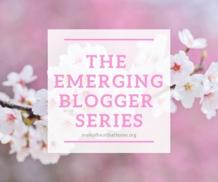 The Emerging blogger series on Mental Health @ Home; background of cherry blossoms