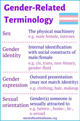 Gender-related terminology: sex, gender identity, gender expression, sexual orientation