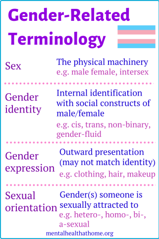 Gender-related terminology: sex, gender identity, gender expression, sexual orientation