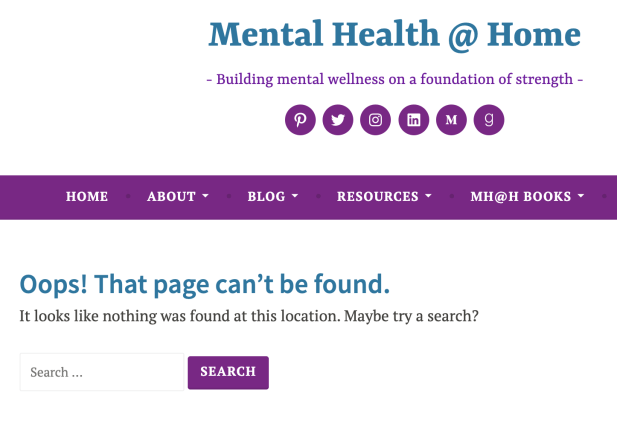 screenshot of Mental Health @ Home 404 error page: Oops! That page can't be found