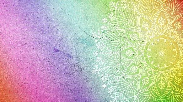 rainbow-coloured mandala design