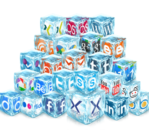 social media icons in the form of ice cubes