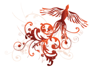 red phoenix with swirling tail