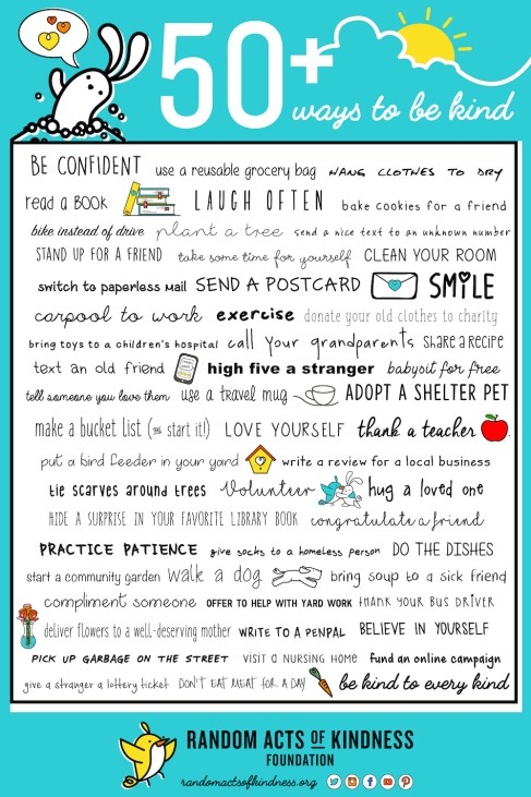 50+ ways to be kind from the Random Acts of Kindness Foundation