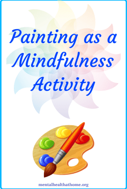 Painting as a mindfulness activity - cartoon graphic of a paint palette