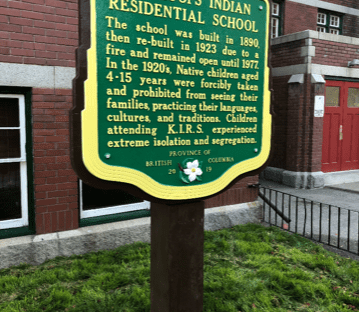 sign outside the Kamloops Indian Residential School