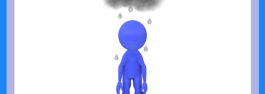 Depressed without the depressed part - graphic of blue person standing under raincloud