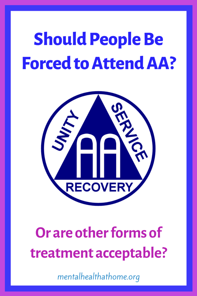 Should people be forced to attend AA - graphic of Alcoholics Anonymous logo