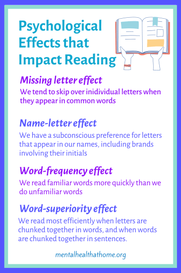 Psychological effects that impact reading, e.g. missing letter effect, name-letter effect