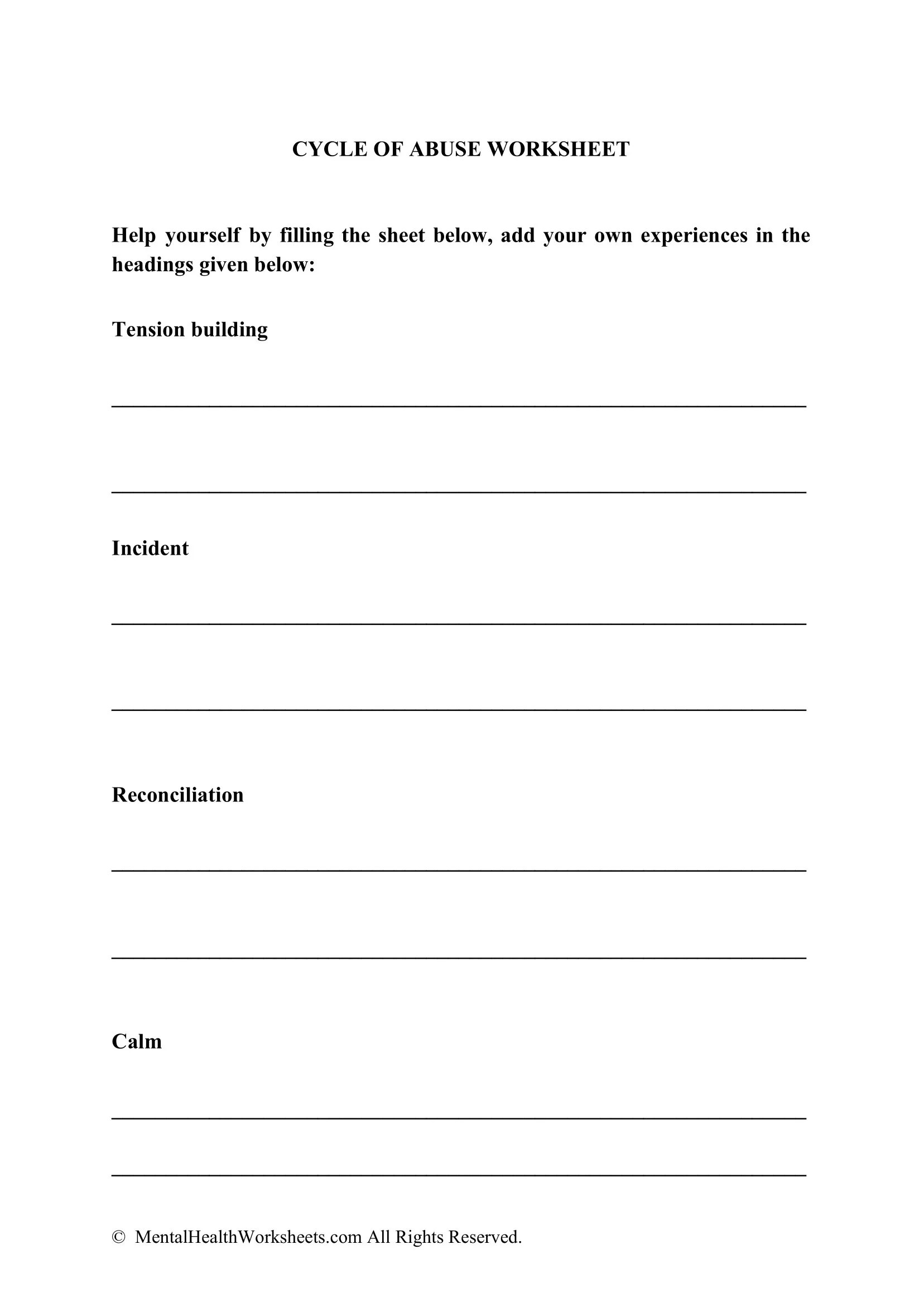Cycle Of Abuse Worksheet