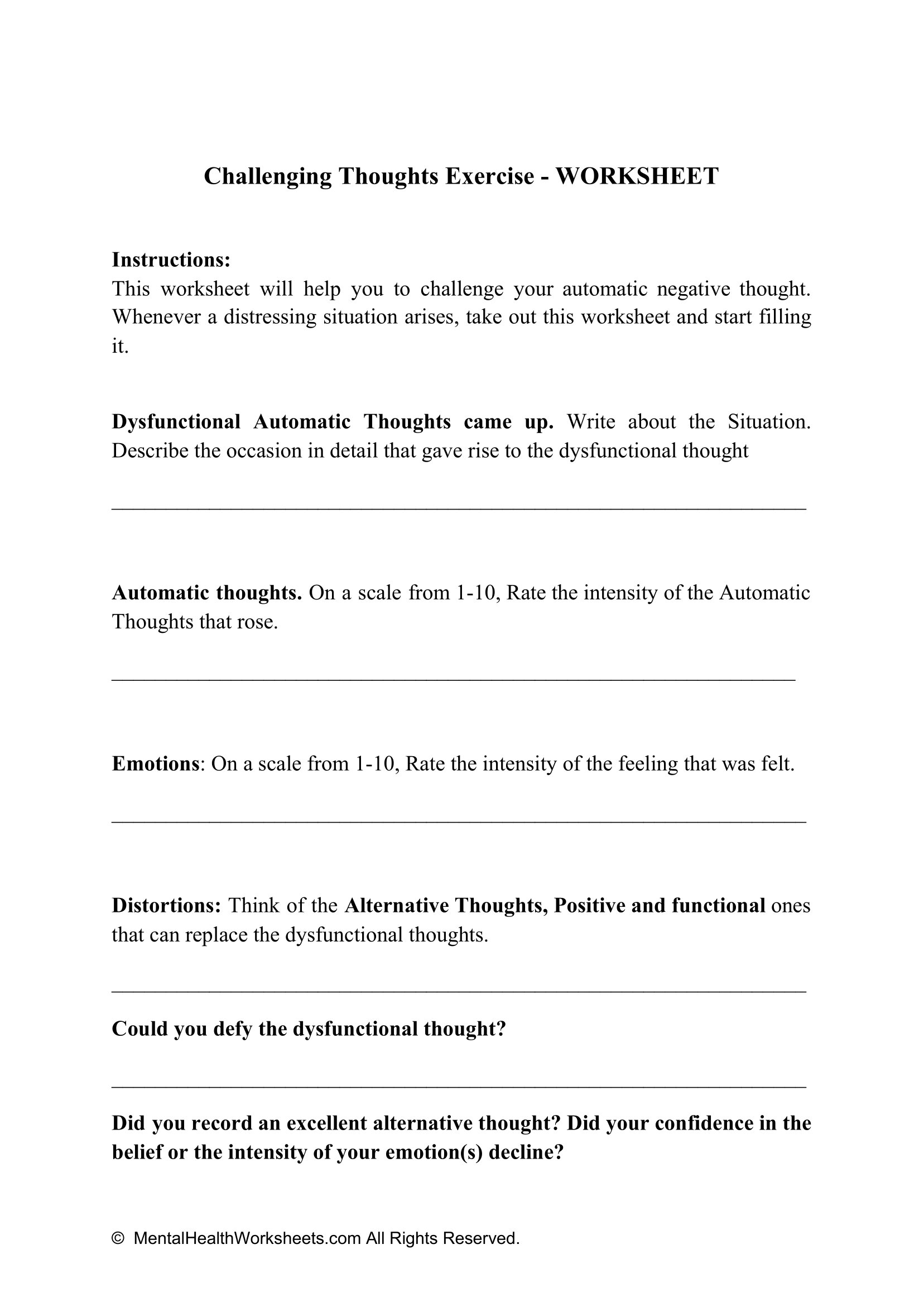 Challenging Thoughts Exercise Worksheet