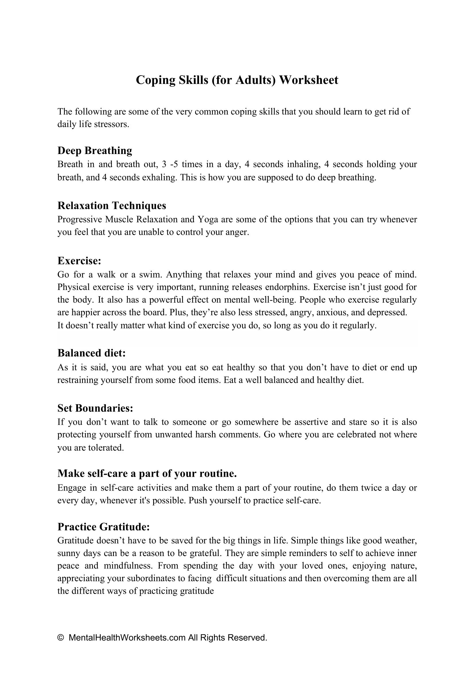 Coping Skills For Adults Worksheet