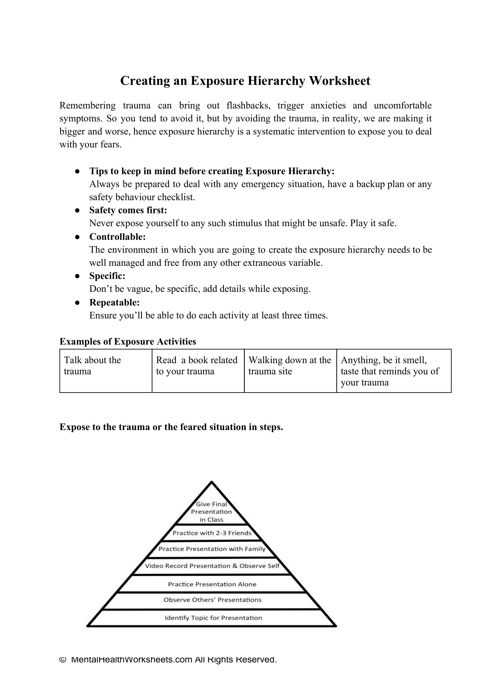 Creating An Exposure Hierarchy Worksheet