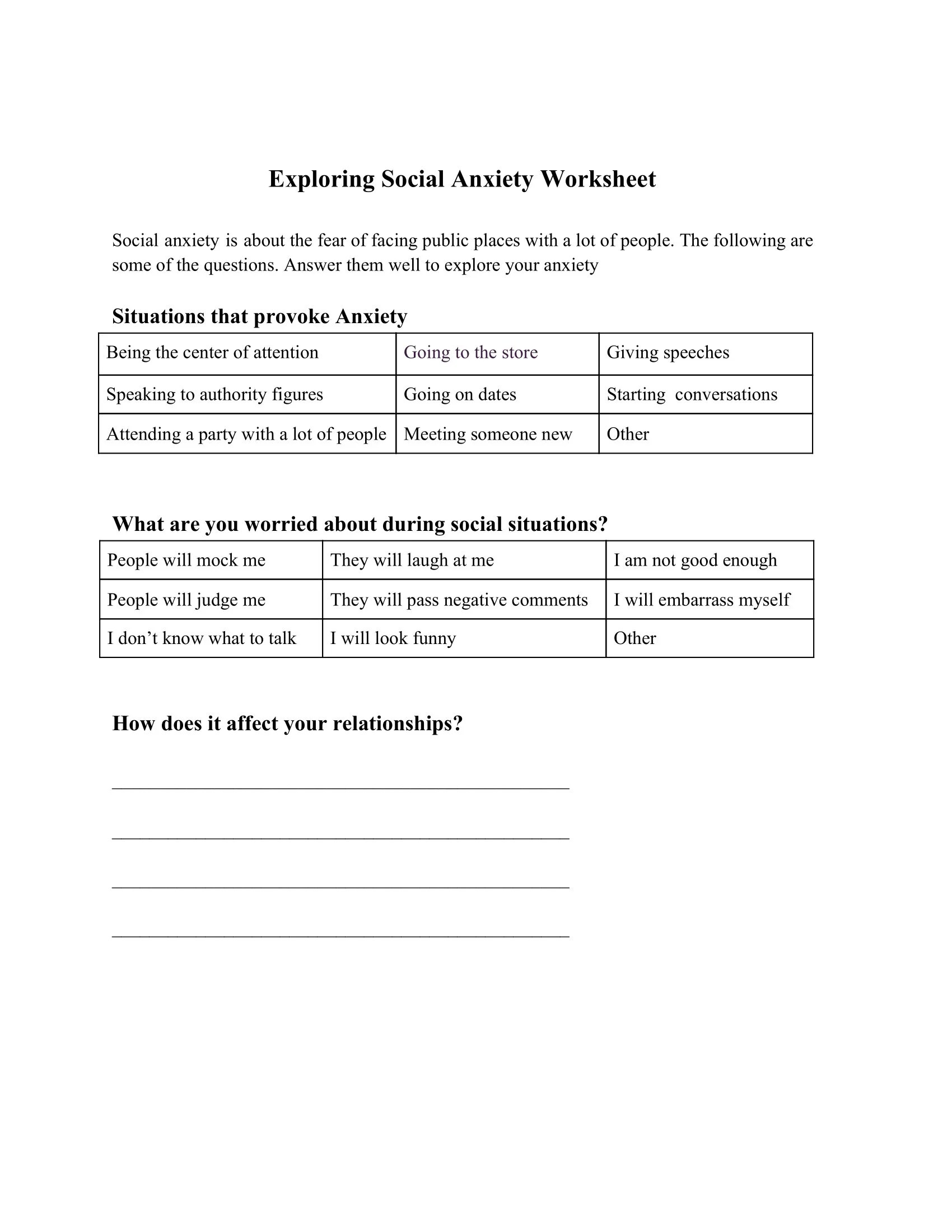 Exploring Social Anxiety Worksheet