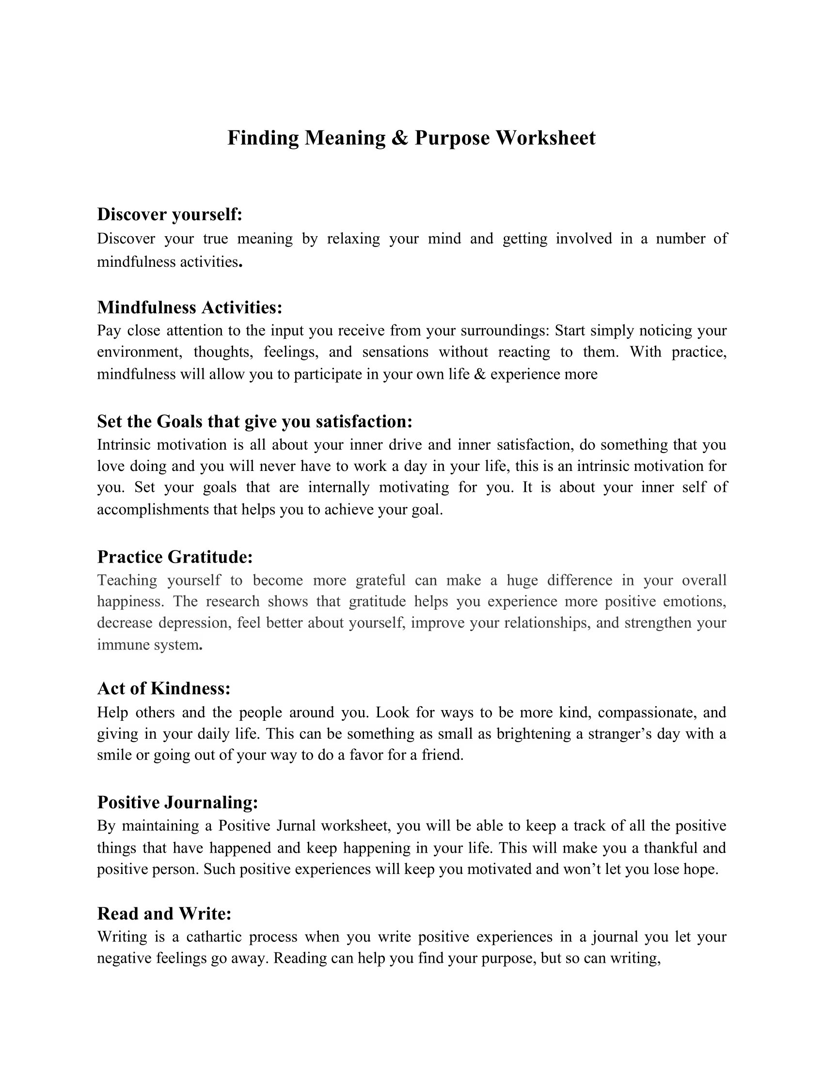 Finding Meaning Amp Purpose Worksheet