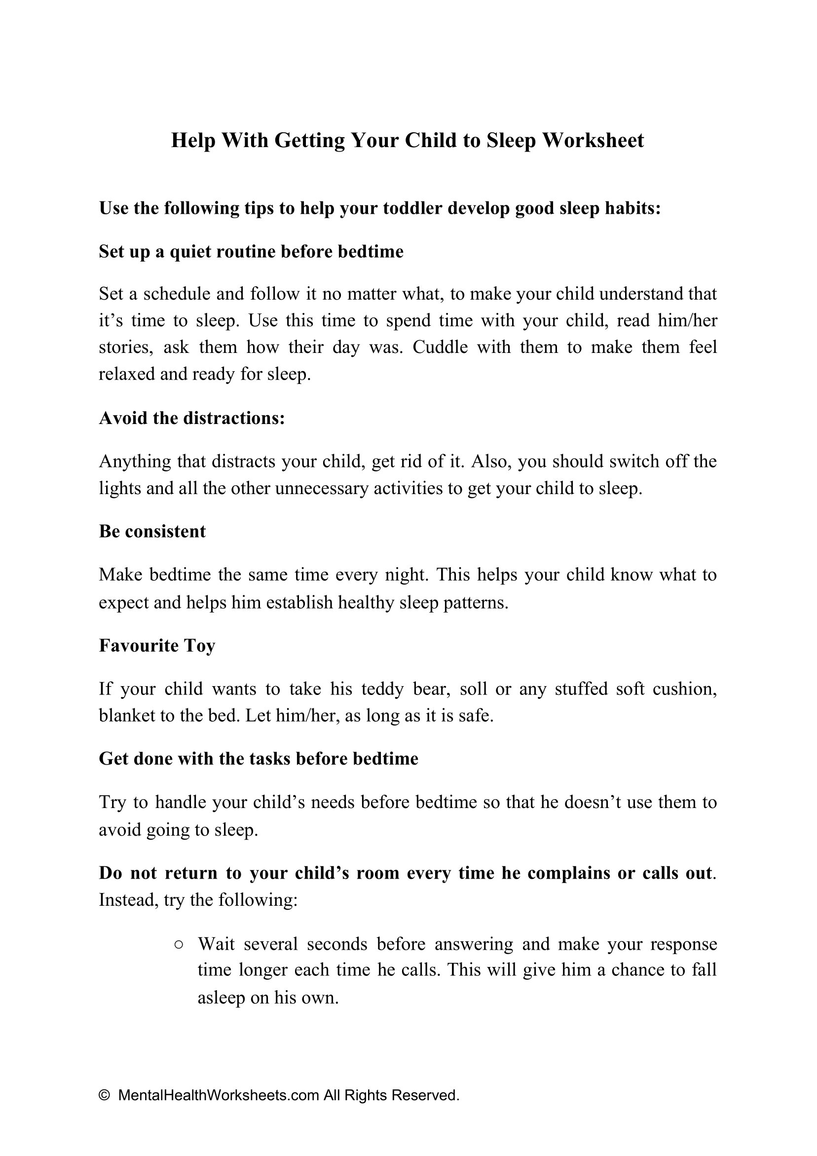 Help With Getting Your Child To Sleep Worksheet