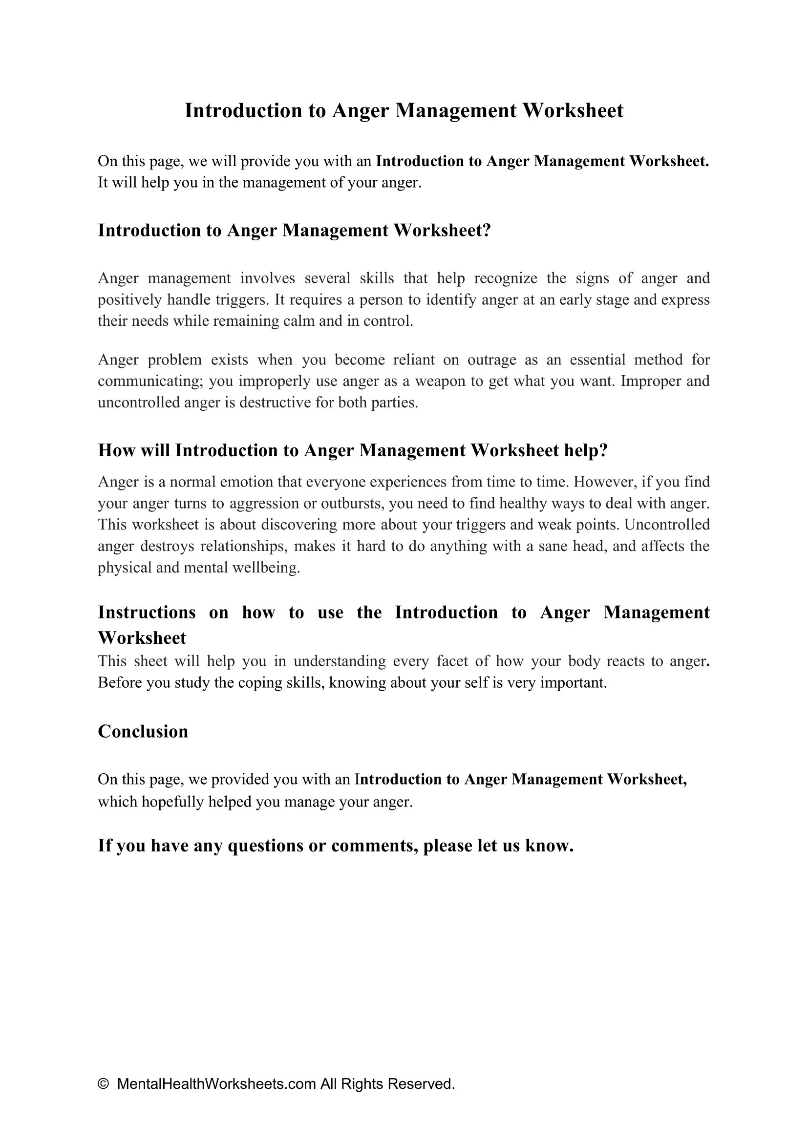 Introduction To Anger Management Worksheet