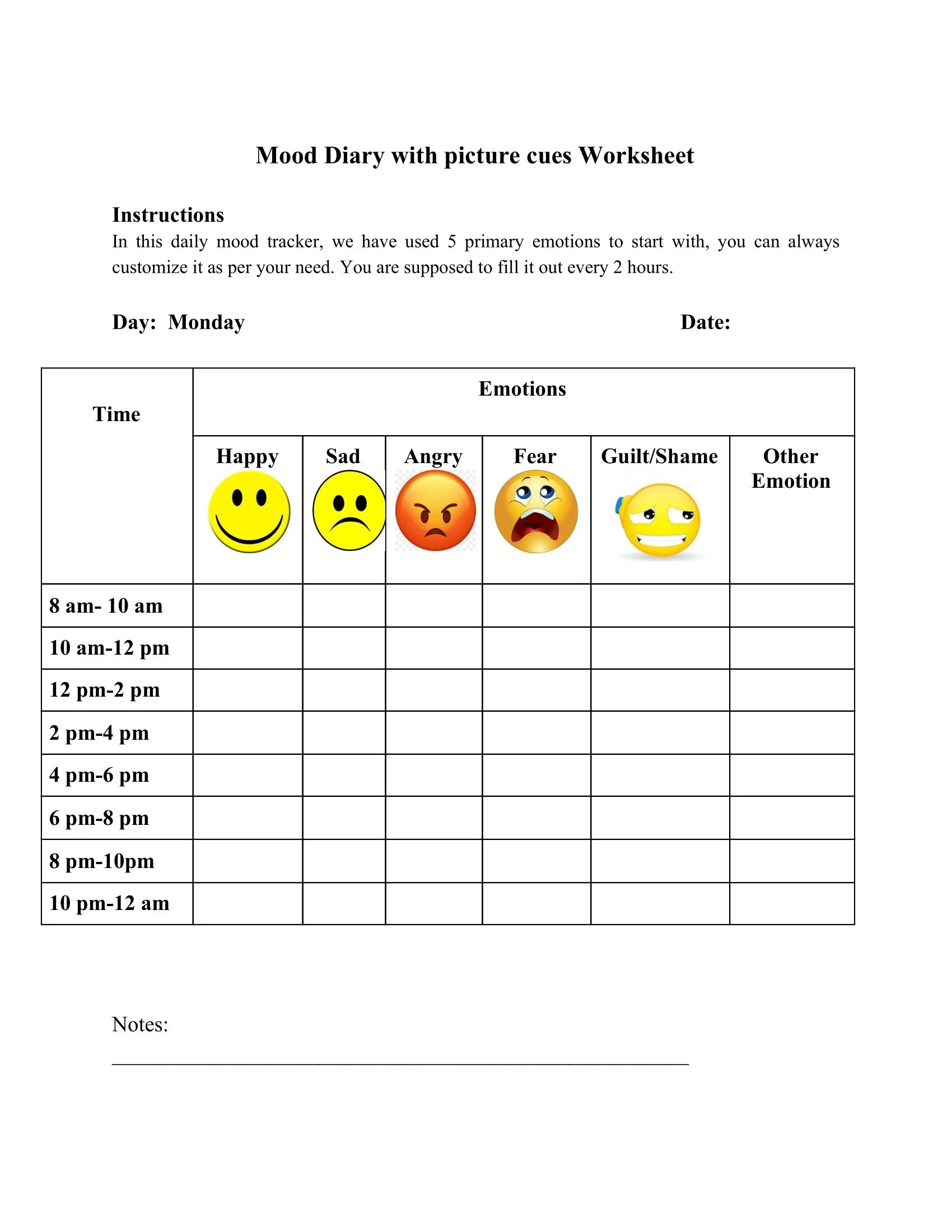 Mood Diary With Picture Cues Worksheet