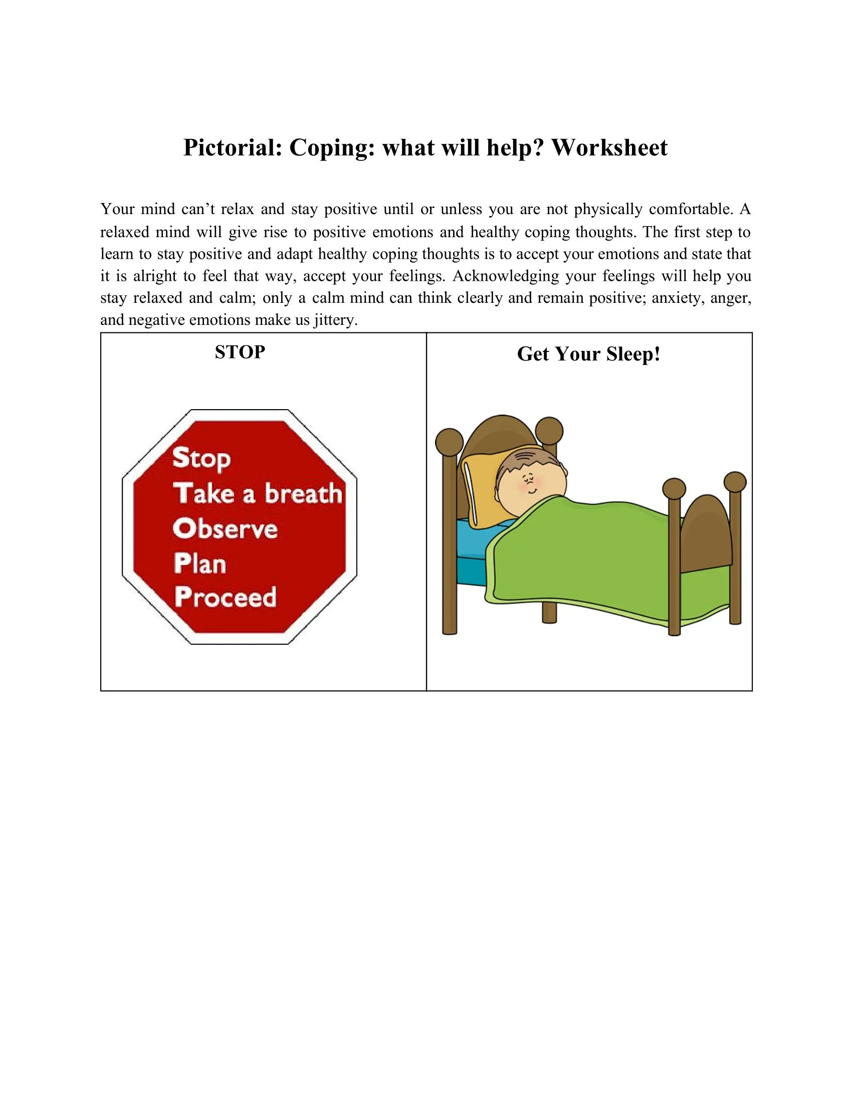 Pictorial Coping What Will Help Worksheet