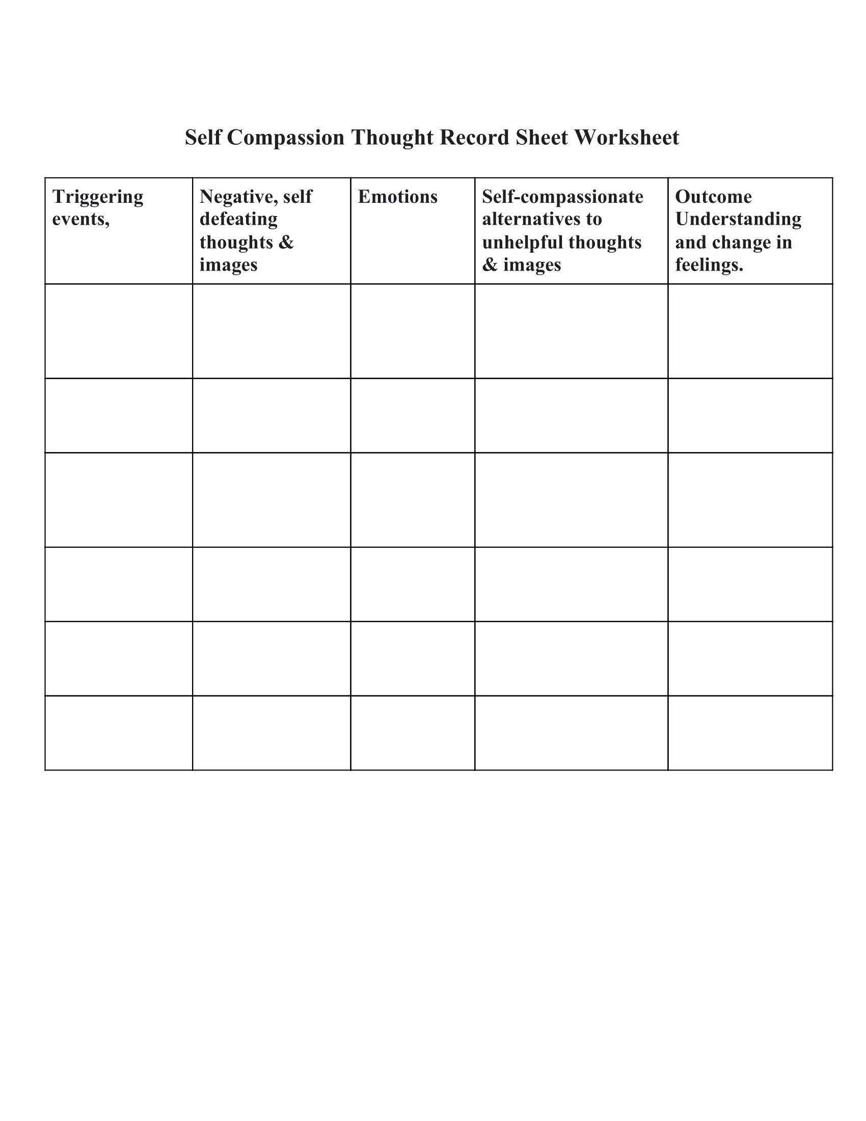 Self Compassion Thought Record Sheet Worksheet