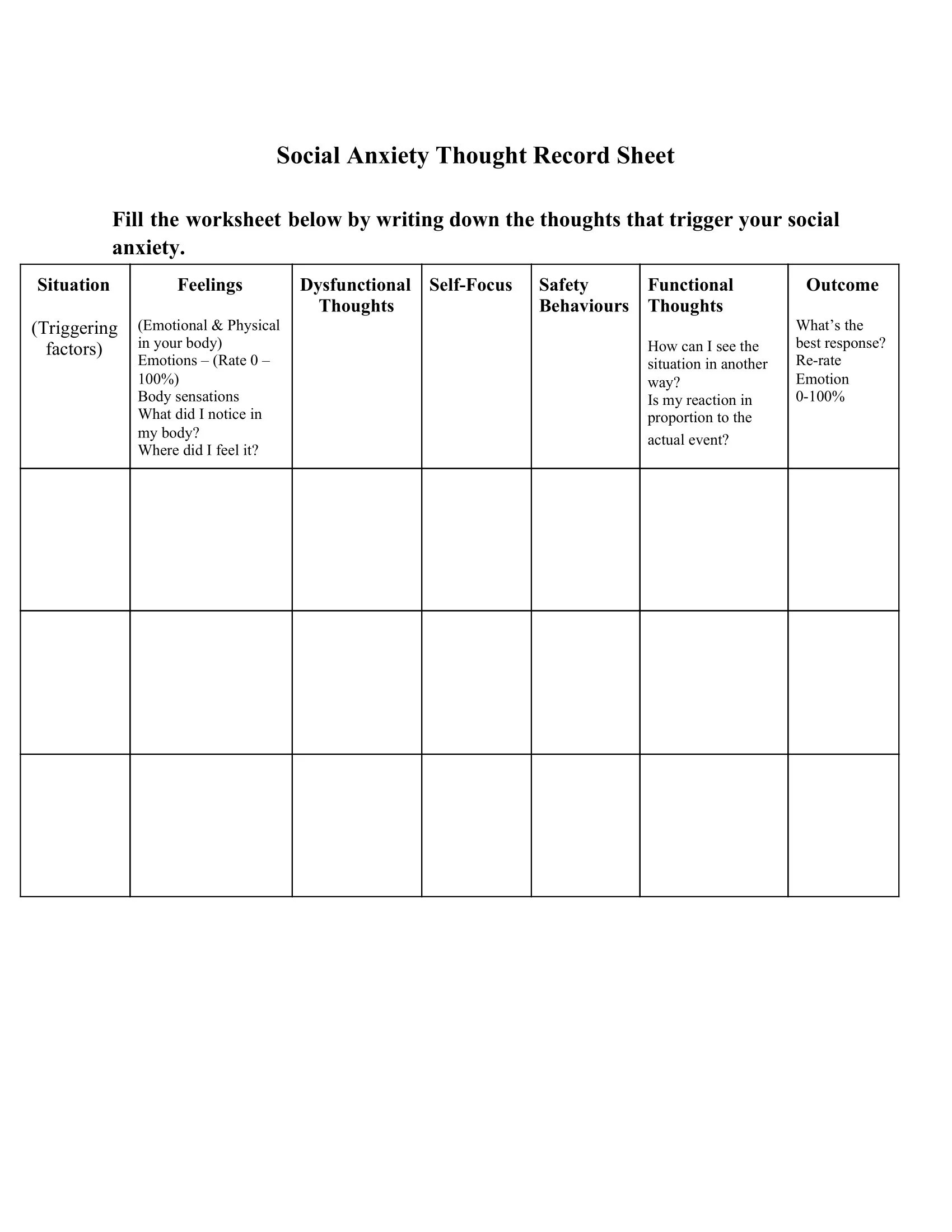 Social Anxiety Thought Record Sheet