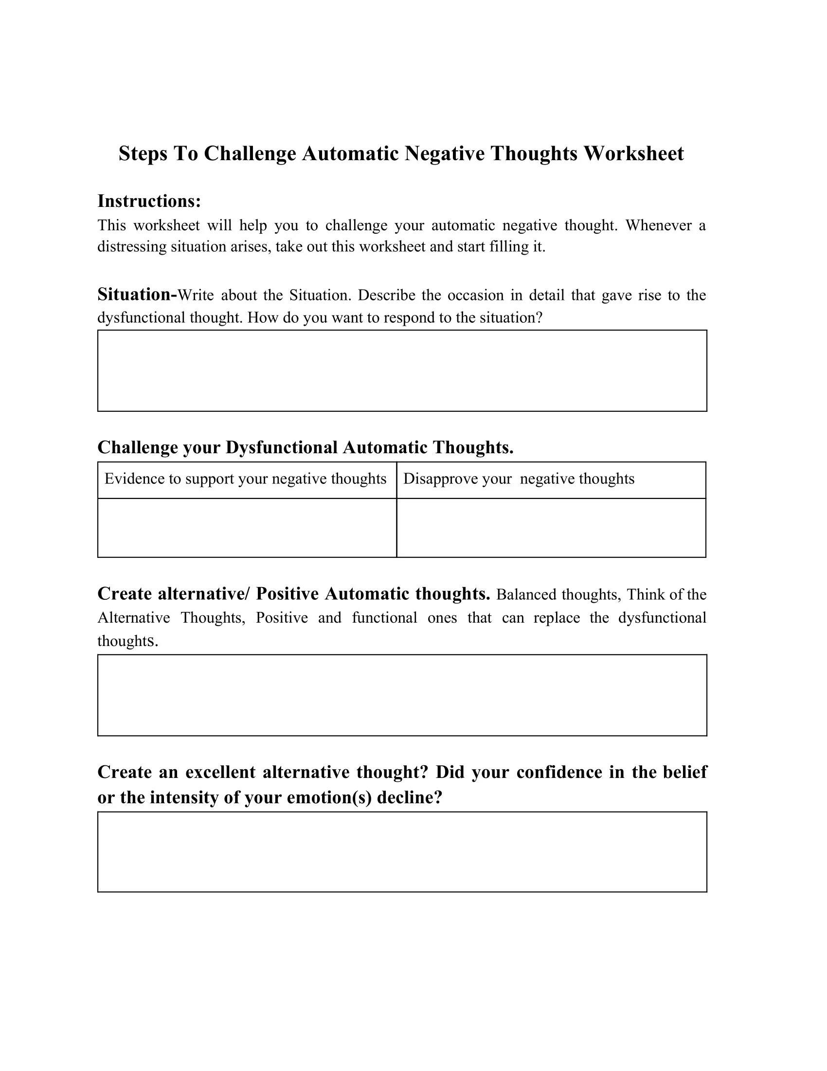 Steps To Challenge Automatic Negative Thoughts Worksheet