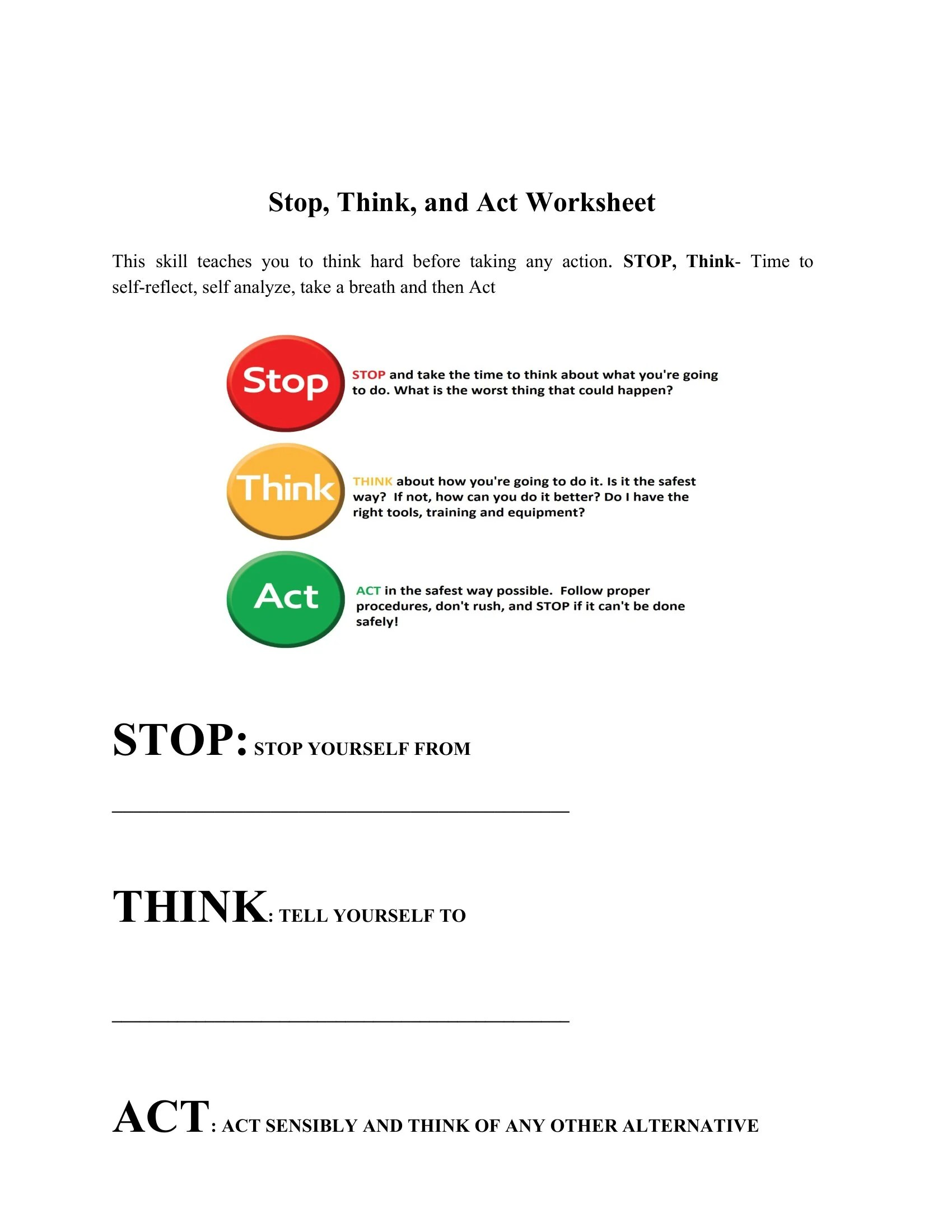 Stop Think And Act Worksheet