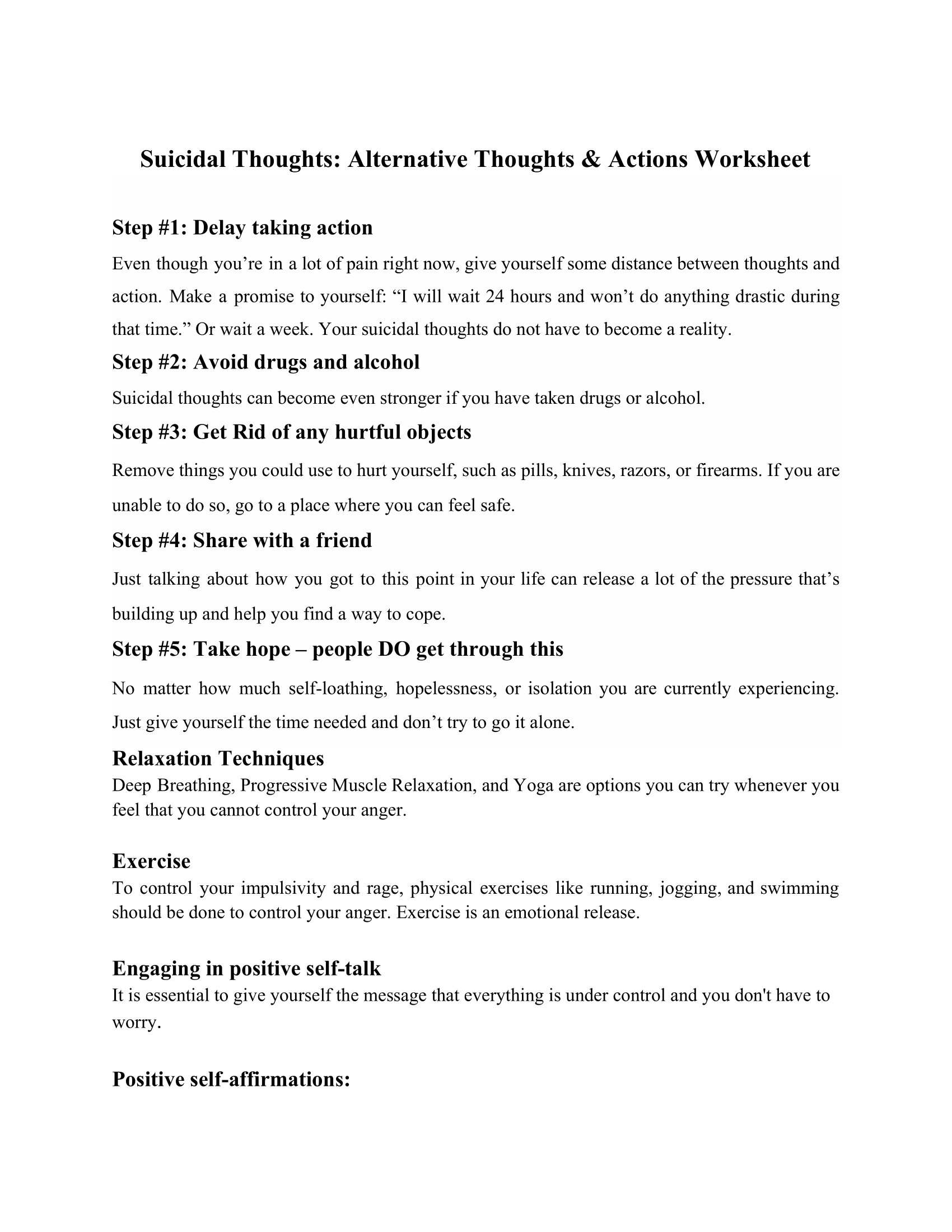 Suicidal Thoughts Alternative Thoughts Amp Actions