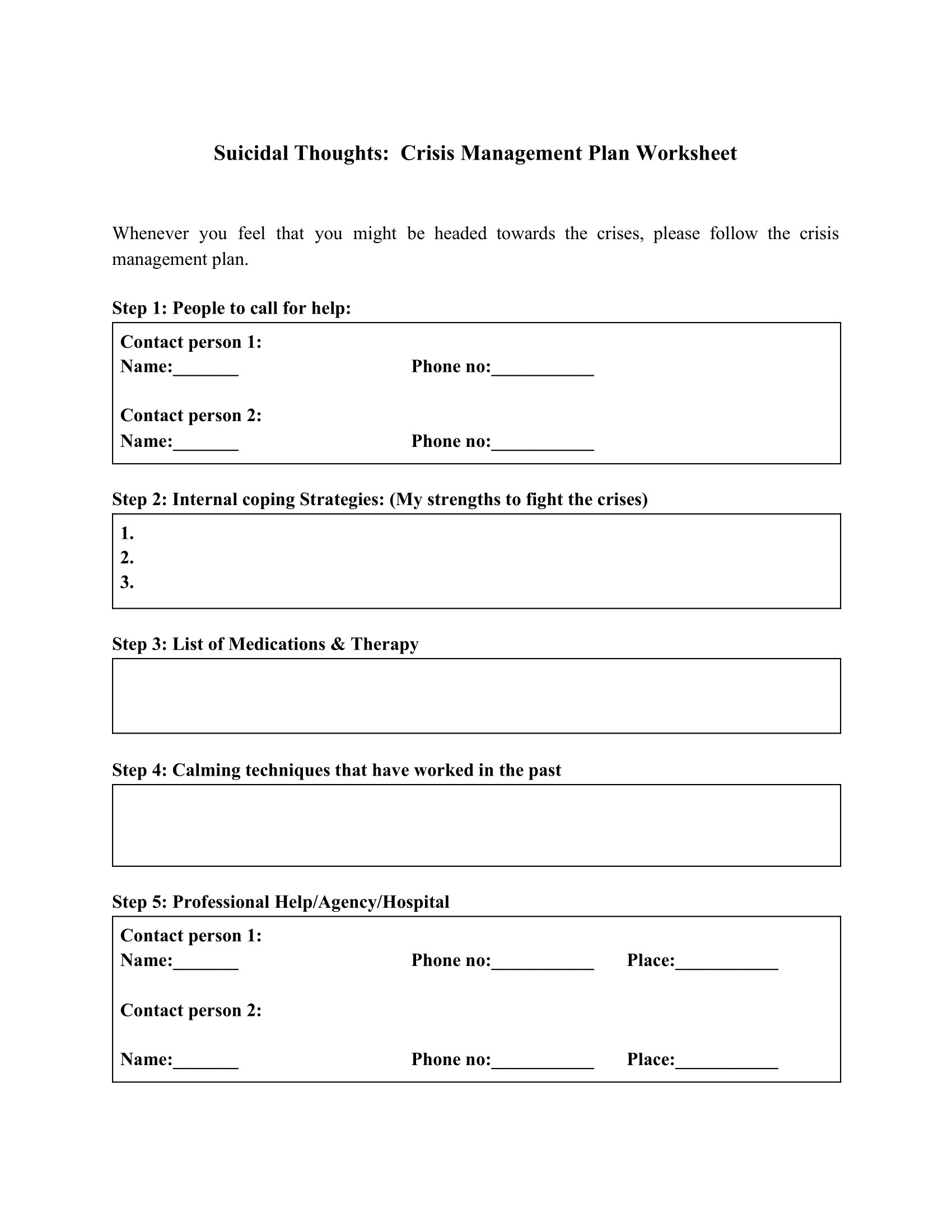 Suicidal Thoughts Crisis Management Plan Worksheet