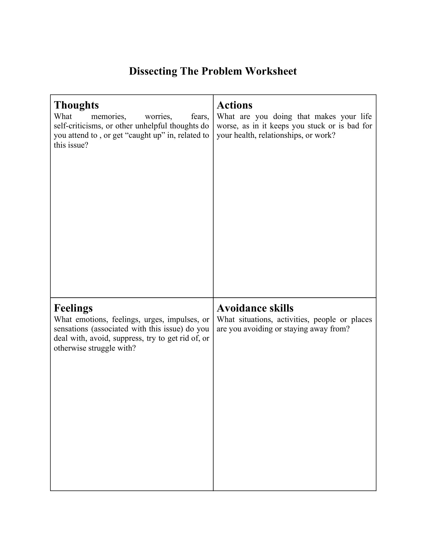 Dissecting The Problem Worksheet