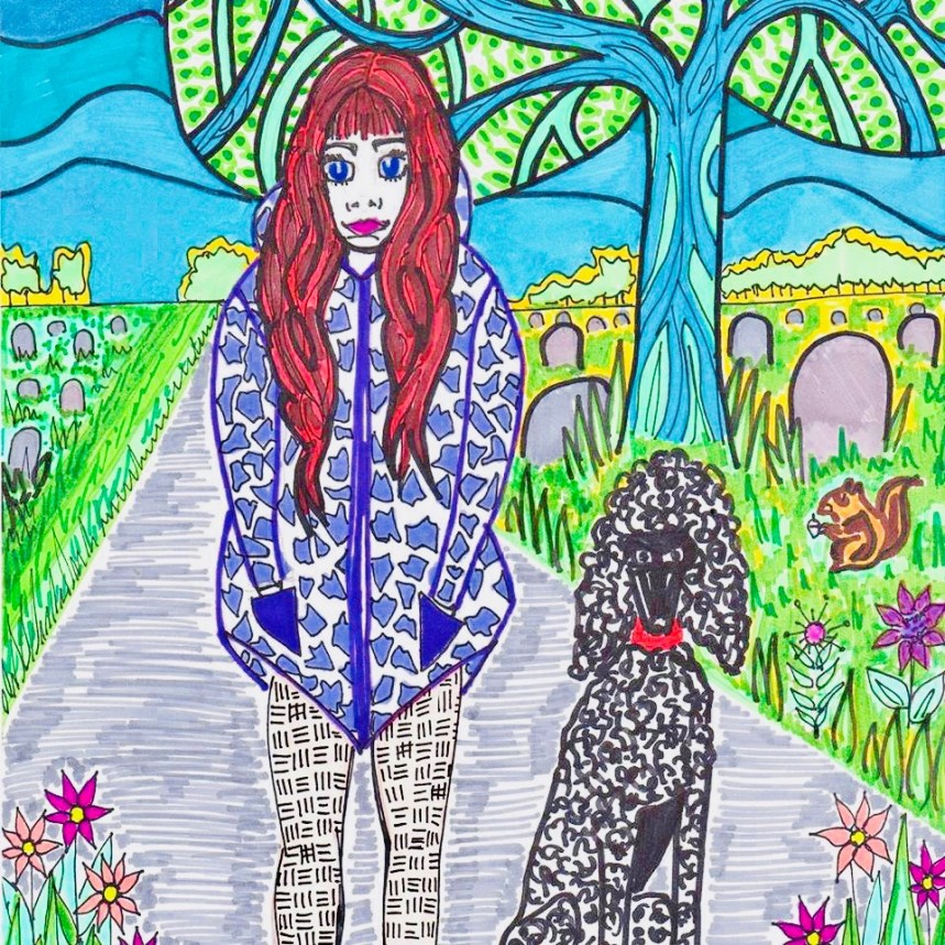 ambassador-charlotte-farhan-self-portrait-with-psychiatric-assistance-dog-amadeus