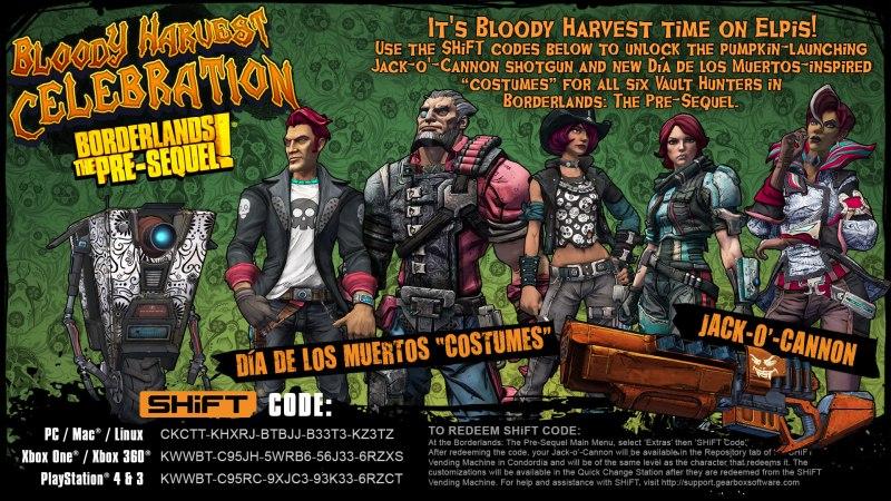 Borderlands The Pre-Sequel Bloody Harvest SHiFT Codes