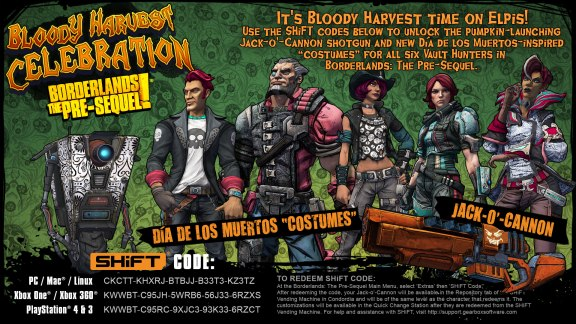 Borderlands The Pre-Sequel Bloody Harvest SHiFT Codes