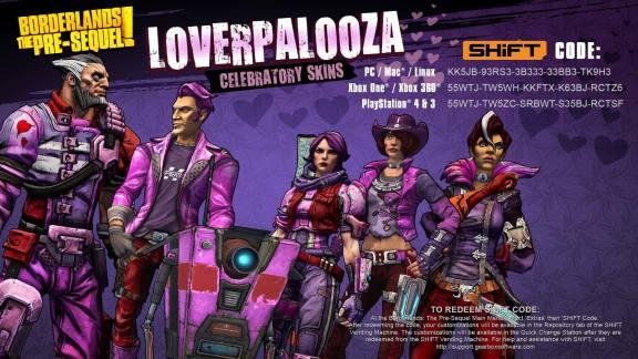 Borderlands the Pre-Sequel Loverpalooza Skins SHIFT Codes