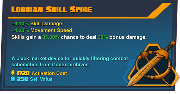 Lorrian Skill Spike - Battleborn Legendary Gear