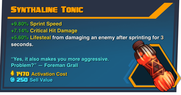 Synthaline Tonic - Battleborn Legendary Gear