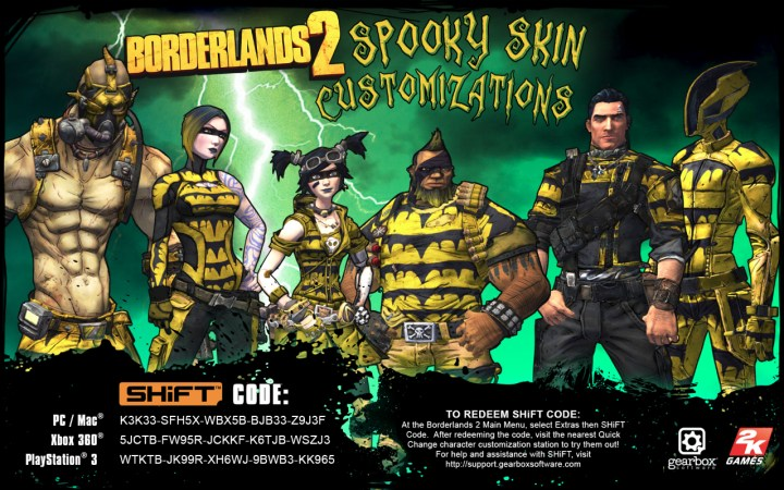Borderlands 2 Spooky Halloween Shift Codes