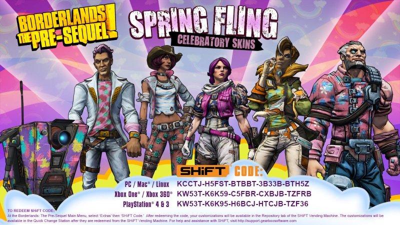 Borderlands the Pre-Sequel SHiFT Codes Spring Fling Skins